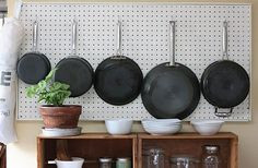 Wall │ DIY: Pegboard Kitchen Organization Inspired by Julia Child Kitchen Organization, Kitchen Storage, Bathroom Storage, Bathroom Ideas, Towel Storage, Craft Storage, Kitchen Utensils, Small Bathroom, Kitchen Pegboard