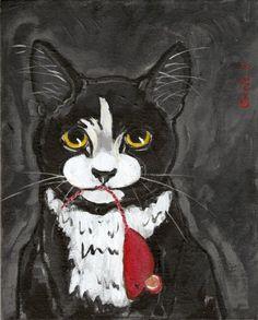 Cat Painting Original OOAK Folk Black Tuxedo  by LadybugArtStudio, $25.00