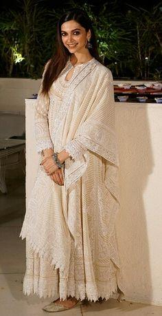 Deepika Padukone in an anarkali Anarkali Dress, Pakistani Dresses, Indian Dresses, Indian Outfits, White Anarkali, Ethnic Outfits, Indian Clothes, Lehenga, Indian Attire