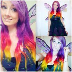 Purple ombre dip dyed hair #hair #longhair #rainbowhair #brighthair #myfantasyhair #myfantasyhairextensions #coloredhair #colorfulextensions #rainbowextensions  http://www.myfantasyhair.com