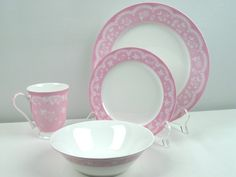vintage lace 16 pc. dinner set. love this! so cute and of course, it's wonderful because it's pink. - plates, saucers, mugs would be great for the bakery!