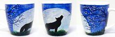 Wolf; hand-painted mug; 370ml / Kristi Palm Art