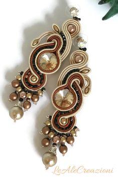 Brown soutache earrings. Длинные сутажные серьги. Lunghi orecchini in soutache.