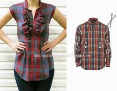Men's to women's shirt. Maybe without the ruffles.