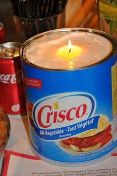 Crisco Candle for emergency situations. Simply put a piece of string in a tub of shortening, and it will burn for up to 45 days. - good to know in case of emergency! Could use in camping too with the small jar of Crisco.