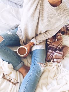 cozy with coffee and a sweater