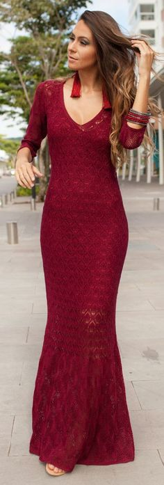 Burgundy Crochet Maxi Dress Festival Style by Decor e Salto Alto
