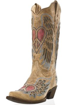 30ddaf2a13b Corral Antique Tan Angel Wing Heart Snip Toe Cowgirl Boots