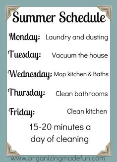 Organizing Made Fun: Summer Cleaning Schedule
