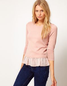 Sweater With Woven Peplum