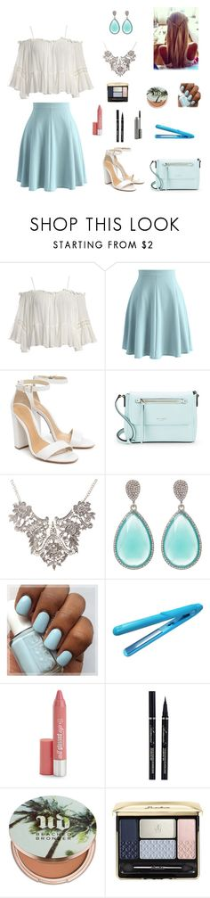 """""""Blue and white"""" by cecebrown0204 ❤ liked on Polyvore featuring Sans Souci, Chicwish, Schutz, Kate Spade, Stella + Ruby, H2Pro, Hard Candy, Urban Decay, Guerlain and MAC Cosmetics"""