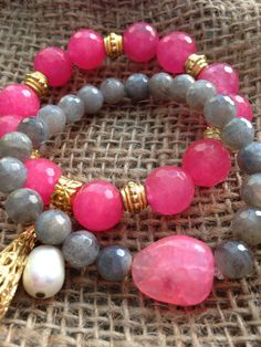 Labradorite Beads Faceted Bracelet With Hot Pink Chalcedony Focal Nugget.By Oohlalagems.  on Etsy, $39.00