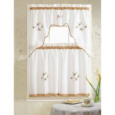 Grand Butterfly Embroidered Kitchen Curtain, White