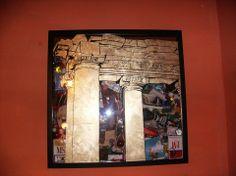 """Titolo:""""ROMA"""": tecnica:oro a foglia e china su vetro. Assemblage di materiali cm 50x50. Created by Elvira Chiodino"""