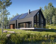 Awesome Black House Exterior Design Ideas You Definitely Like - There's not at all like another lick of paint to make a house truly look incredible. Including a new coat and cleaning up the shades can take a long t. Modern Barn House, Barn House Plans, Modern House Design, Passive House Design, Contemporary Design, Black House Exterior, Casas Containers, Modern Farmhouse Exterior, Cottage Exterior