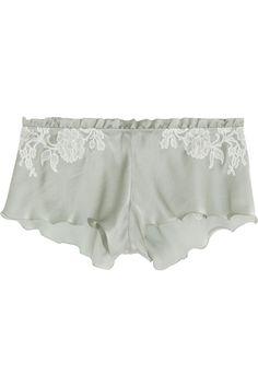 Carine GilsonLace-trimmed silk-satin shorts
