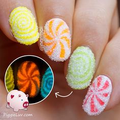 Grab some candy! It's delicious! You can just taste it, can't you? I used real sugar for this crazy nail art, and glow in the dark polishes from @serumno5, so come check out the video tutorial!