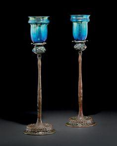 ** Tiffany Studios, New York, Iridescent Favrile Glass and Bronze Candlestick.