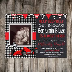 Digital Race Car Baby Shower Invitation Race Car by HomaliDesign