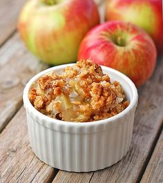 Apple crisp...missing one very important ingredient: ICE CREAM on top. then it would be perfection :)