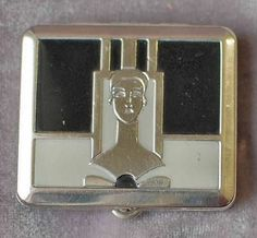 I love this one! Classic Art Deco Enamel Silver Lady Compact