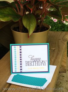 happy birthday everyone and bohemian borders pair up for this quick and easy birthday card. Stamps by Stampin' Up! Card by Kriss Huels. Details at http://stampwithkriss.com/happy-birthday-and-bohemian-borders
