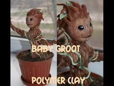 Baby Groot/Polymer clay tutorial - YouTube