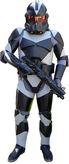 Clone shadowtrooper Shadow with his DC-15S blaster carbine (19 BBY)