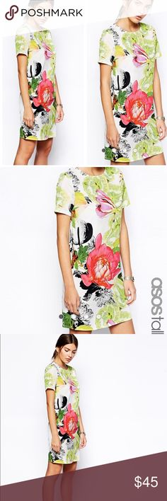 ASOS • Botanical floral shift dress ASOS Tall botanical Bardot midi shift dress. Size 8. Retail $81. Sold out online. Asos Dresses Midi