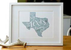Texas Print - Southern Print - Texas Pride - Dusty Blue - Texas Art - 8x10