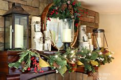 Holiday Home Tour with rustic lodge style Christmas decor in a DIY split level home