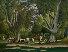 Henri Rousseau - Art Naïf - Naive Art - Landscape with milkmaids Henri Rousseau Paintings, Paris Garden, Avant Garde Artists, Amedeo Modigliani, Painting Gallery, Magritte, Oil Painting Reproductions, Naive Art, Wassily Kandinsky
