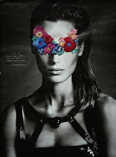 JoseRomussi02 - image from a magazine, bold, contrasting black and white image and coloured flowers, different materials