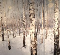 birch trees in the snow - Lars Lerin - watercolor Watercolor Trees, Watercolor Landscape, Watercolor And Ink, Landscape Art, Landscape Paintings, Watercolor Paintings, Watercolors, Winter Painting, Winter Art