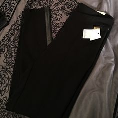 Beautiful Calvin Klein dressy Pants/Leggins This beautiful dressy Pants/Leggings from Calvin Klein have leather stripes on sides and are power stretch!! Calvin Klein Pants Leggings
