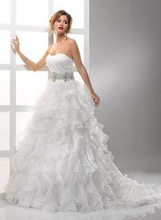 A-line Strapless Scoop Neckline Ruched Bodice Ruffling Organza Wedding Dress-wa0232, $269.95