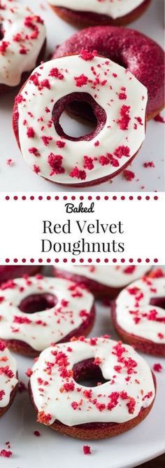 - Baked Red Velvet Doughnuts The BEST Red Velvet Doughnuts. Soft & moist with the perfect cake doughnut crumb, a delicious red velvet flavor and a cream cheese glaze. Best Donut Recipe, Baked Donut Recipes, Baked Doughnuts, Weight Watcher Desserts, Delicious Donuts, Delicious Desserts, Köstliche Desserts, Dessert Recipes, Red Velvet Donuts