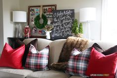 Red and Plaid Living Room - Christmas Home Tour via Life on Virginia Street
