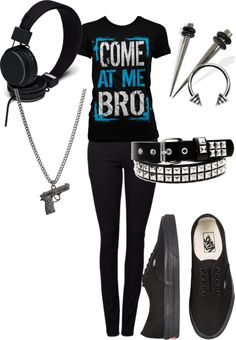 """Come at me bro"" I don't like the spike earrings, but the shirt, shoes, and headphones are cute! :D"