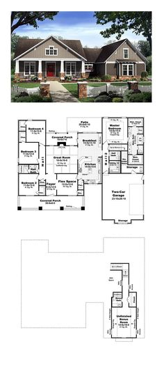 Country House Plan 59198 Total Living Area 2400 sq ft 4 bedrooms and 25 bathrooms New House Plans, Dream House Plans, House Floor Plans, My Dream Home, Dream Houses, Future House, My House, House Bath, Casa Stark