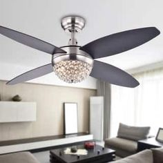Shop for Harvin Wood Satin Nickel Crystal Ceiling Fan with Remote - Brown. Get free delivery On EVERYTHING* Overstock - Your Online Ceiling Fans & Accessories Store! Ceiling Fans For Sale, 52 Inch Ceiling Fan, Metal Ceiling, Ceiling Fan With Remote, Modern Ceiling, Ceiling Tiles, Ceiling Fan Chandelier, Ceiling Lights, Ceiling Fan Makeover