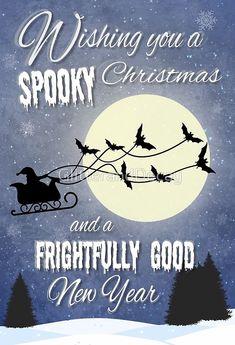 'Wishing you a SPOOKY Christmas' Greeting Card by GlitterandDecay Christmas Greeting Cards, Christmas Greetings, Christmas Crafts, Merry Christmas, Xmas, Christmas Music Playlist, Creepy, Scary, Little Christmas