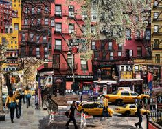 NYC. ST. MARK'S PLACE. // Seen anything weird?. In fact it's a pixelated photograph that enhances, in my opinion, the true spirit of the place.