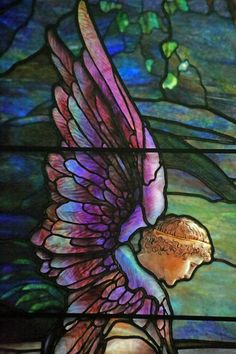 """Resurrection"" (detail), Brydon Memorial Window, before 1910 Frederick Wilson, designer Stained Glass Angel, Tiffany Stained Glass, Tiffany Glass, Stained Glass Windows, Mosaic Windows, Stained Glass Church, Fused Glass Art, Mosaic Glass, I Believe In Angels"