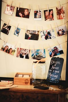 Love the string of pictures....Pretty Rustic Bridal/Wedding Shower Party Ideas | Photo 4 of 15 | Catch My Party