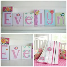Baby Name Blocks . Nursery Name Blocks. M2M by RessieLillian.Etsy.com Made to coordinate with Pottery Barn Kids Petite Paisley