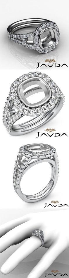 Settings Only 164309: Diamond Engagement Ring Cushion Semi Mount 18K White Gold Halo Bezel Set 1.11Ct -> BUY IT NOW ONLY: $1889.1 on eBay!