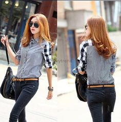 Patchwork Blouse Sexy Cute Girls Clothings Blusas at Yeytrend. Available size from Small, Medium, Large, XL XXL. For more details, you can visit our site to choose your preferred size.