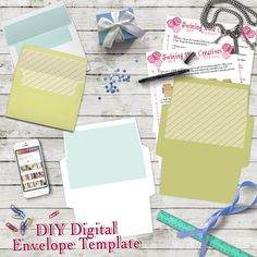 DIY Envelope Template, A7 5x7 Envelope Template, Digital Download, Green and White Envelope Template, Card Envelope Print, Tutorial Included