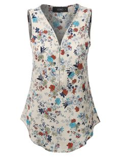 LE3NO Womens Sleeveless Floral Print Chiffon Blouse Top